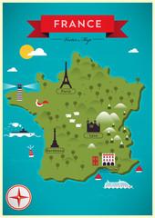 Map of France Vector Illustration