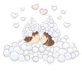 Kiss in the foam