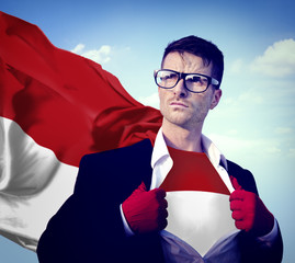 Businessman Superhero Country Indonesia Flag Culture Concept