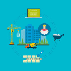 Flat design vector concept illustration with icons of building
