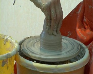 Clay pot on a potter's wheel   3