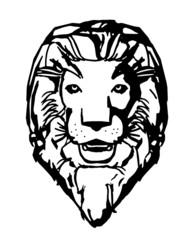 testa di leone in bianco e nero