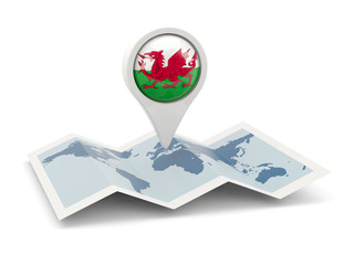 Round pin with flag of wales