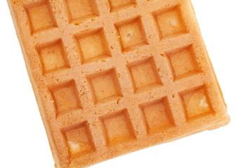 Close - up Delicious sweet waffle on white background .