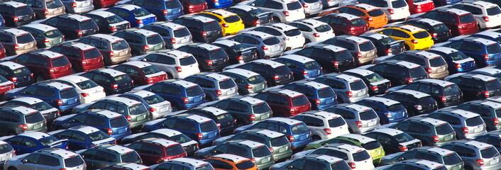 New Japanese car waitng for import at Kawasaki sea port , Japan