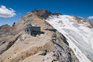 Marmolada glacier and aircable in italian Dolomites