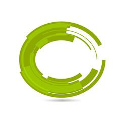 Green tech circle. Vector.