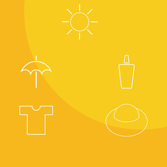 Outline icons  on yellow background show how to get safe sun tan