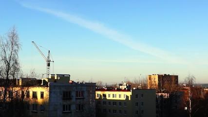 City skyline and blue sky