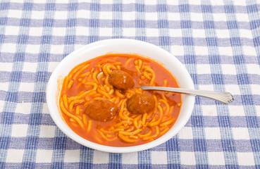 Meatballs in Bowl of Spaghetti