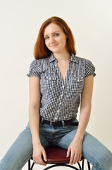 Happy redhead woman