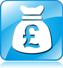 pound sterling blue square icon