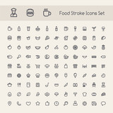 Fototapety Set of Stroke Food Icons