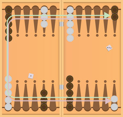 Direction of movement of chips backgammon