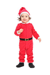 Adorable little girl in Christmas costume