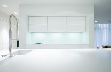 Simple white kitchen interior