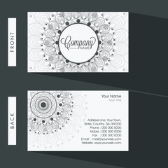 Two sided floral business card or visiting card set.