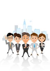 ビジネス グループ ビル群 縦長