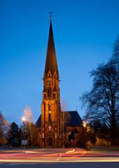 Germany, local church at night