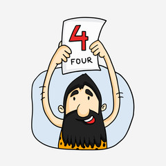 Funny caveman showing Four Run pamphlet for Cricket concept.