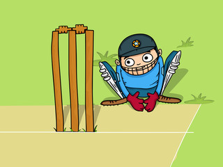 Cartoon of wicket keeper sitting behind stumps for Cricket.
