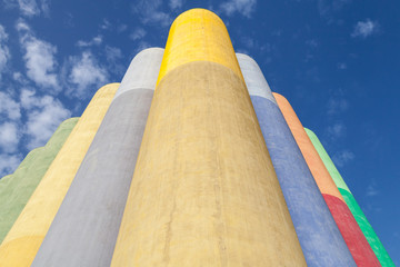 Abstract industrial architecture fragment, colorful tanks