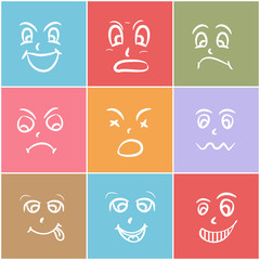 Colorful set of  different facial expressions.