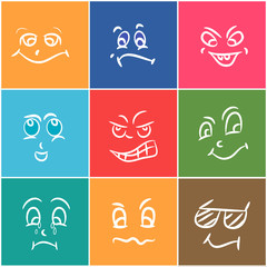 Colorful set of funny faces with different expressions.