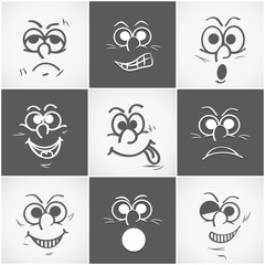 Set of  different facial expressions on grey background.