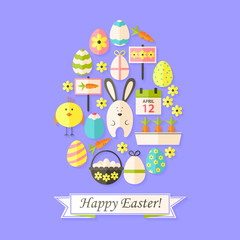 Easter Holiday Card with Flat Icons Set Egg shaped