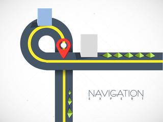 Road map navigation with pointer on grey background.