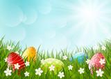 Fototapety Easter eggs on green grass