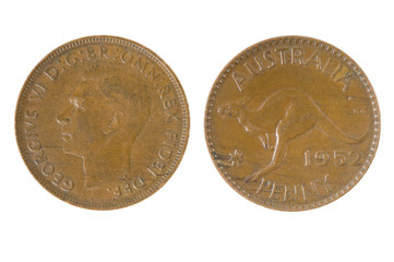 Old Australian penny, isolated on white.