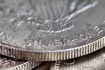 Close view of a silver dollar