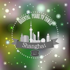A symbol of modern Shanghai on blurred background.eps 10.