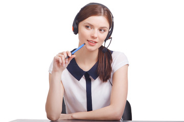 Portrait of  cheerful young support phone operator