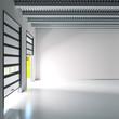 Leinwanddruck Bild - Kleine Halle mit Rolltoren
