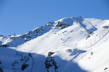 Ski lift station in mountains at winter
