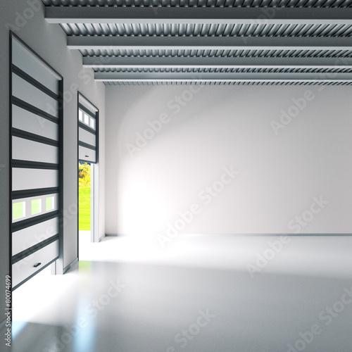 Leinwanddruck Bild Kleine Halle mit Rolltoren