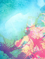 Colorful abstract painted watercolor water, sea or other blue