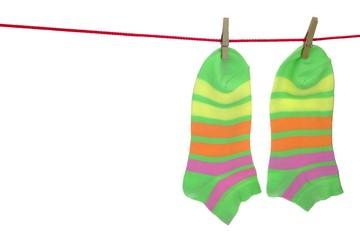 Socks Hanging Isolated On White Background