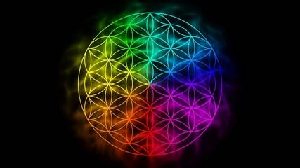 Rainbow flower of life with aura - symbol of sacred geometry