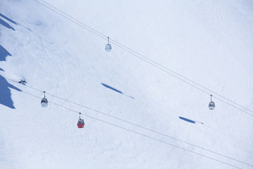 Group of cable car cabins in Sierra Nevada, Granada