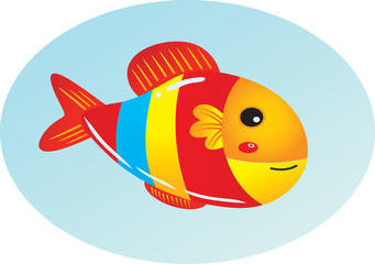 Cute cartoon fish. Vector clipart illustration with gradients.