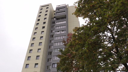 renovated high flat apartment house and autumn tree