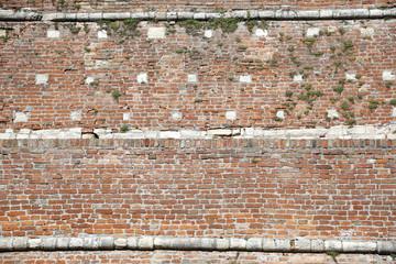 red brick wall texture grunge background of interior