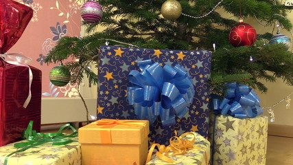gifts presents boxes under christmas fir tree