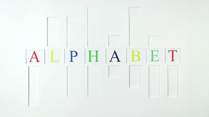 The video shows alphabet images on paper