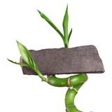 Bambus mit Schiefertafel zum Beschriften