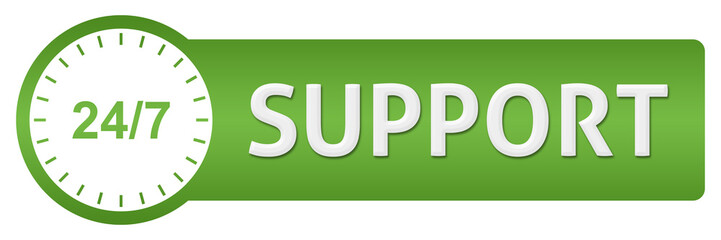 Support With Clock Green Horizontal
